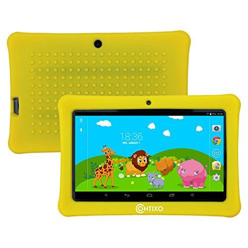 HOLIDAY SPECIAL! Contixo Kids Safe 7'' Quad-Core Tablet 8GB, Bluetooth, Wi-Fi, Cameras, Free Games, HD Edition w/ Kids-Place Parental Control, Kid-Proof Case (Yellow) - Best Gift For Christmas by Contixo