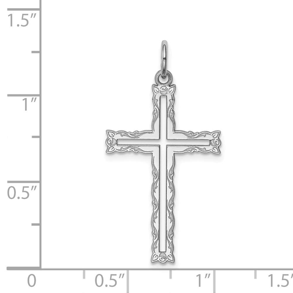 Jewelry Stores Network Latin Cross Pendant with Ornate Broder in 925 Sterling Silver 30x16mm