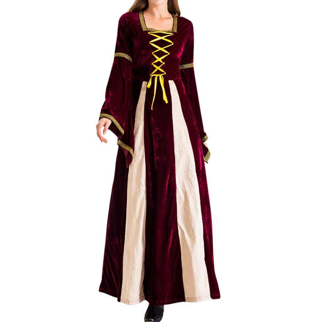 Women Maxi Dresses Medieval Costume for Women Long Flare Sleeve Cinched Waist Renaissance Dress Red by ShenPourtor_Women Dress