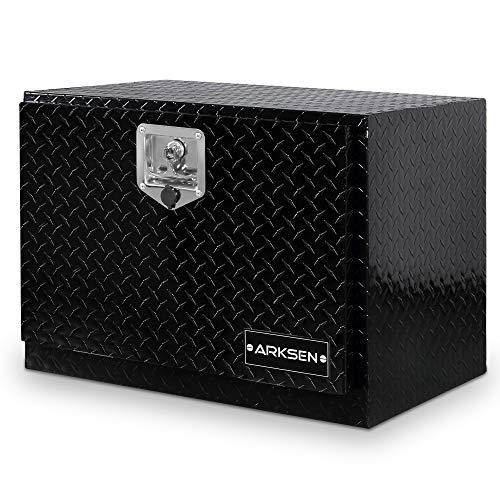 ARKSEN 24 Inch Heavy Duty Aluminum Diamond Plate Tool Box Pickup Truck ATV Underbody Trailer Storage Lock W/Key, Black