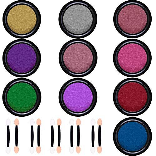 Duufin 10 Jars Nail Powder Mirror Nail Art Powder Metallic Chrome Powder 10 Colors Manicure Pigment(1g/Jar) with 10 Pcs Eyeshadow Sticks