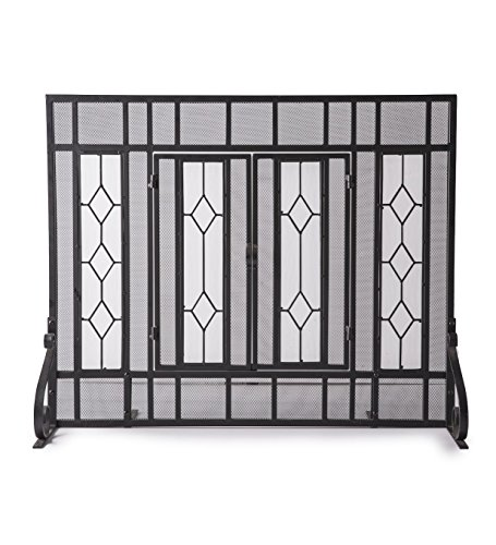Plow & Hearth Small Diamond Fireplace Screen with Hinged Doors, Beveled Tempered Glass Panels and Metal Mesh, Tubular Steel Frame, Black Powder Coat Finish 38 W x 31 H
