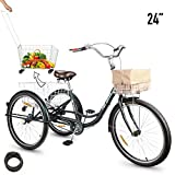 HIRAM 3-Wheeled Adult Tricycle with Foldable Basket, 24' Wheels Trike for Men and Women, Single Speed Cruise Bike, Exercise Bike for Recreation and Shopping, Water-Proof Bag and Bicycle Bell