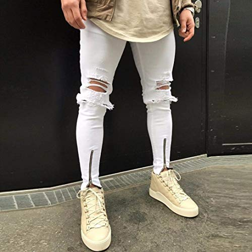 Size Plus So Hip Jeans Ragazzo Uomo Strappato Cool Pantaloni Hop Da Streetwear Moto Denim Slim Fit Vintage Bianca fqSwxAgZEt