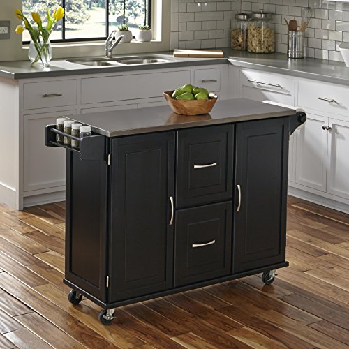 Patriot Black Kitchen Cart with Stainless Steel Top by Home Styles ()