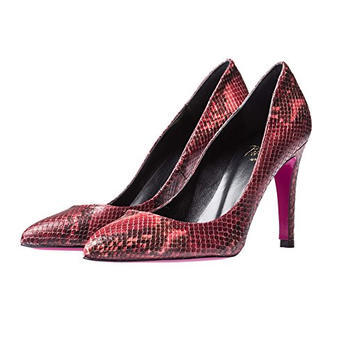 Stiletto Pink 40 Piel Heel Burdeos Serpiente The OUEqZn1n