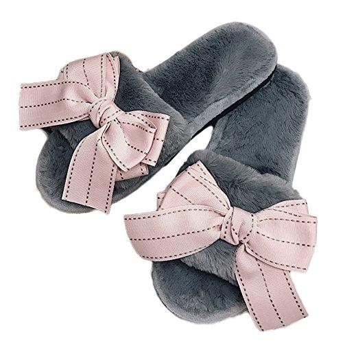 Ciabatta Donna Moda Bowknot Faux Fur Open Toe Pantofole Invernali Invernali Scarpe Morbide Grigio Rosa
