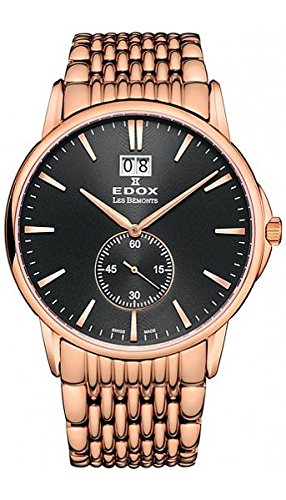 EDOX hombre 64012 37RM IIN les BEMONTS pantalla analógica Swiss reloj de cuarzo reloj de oro