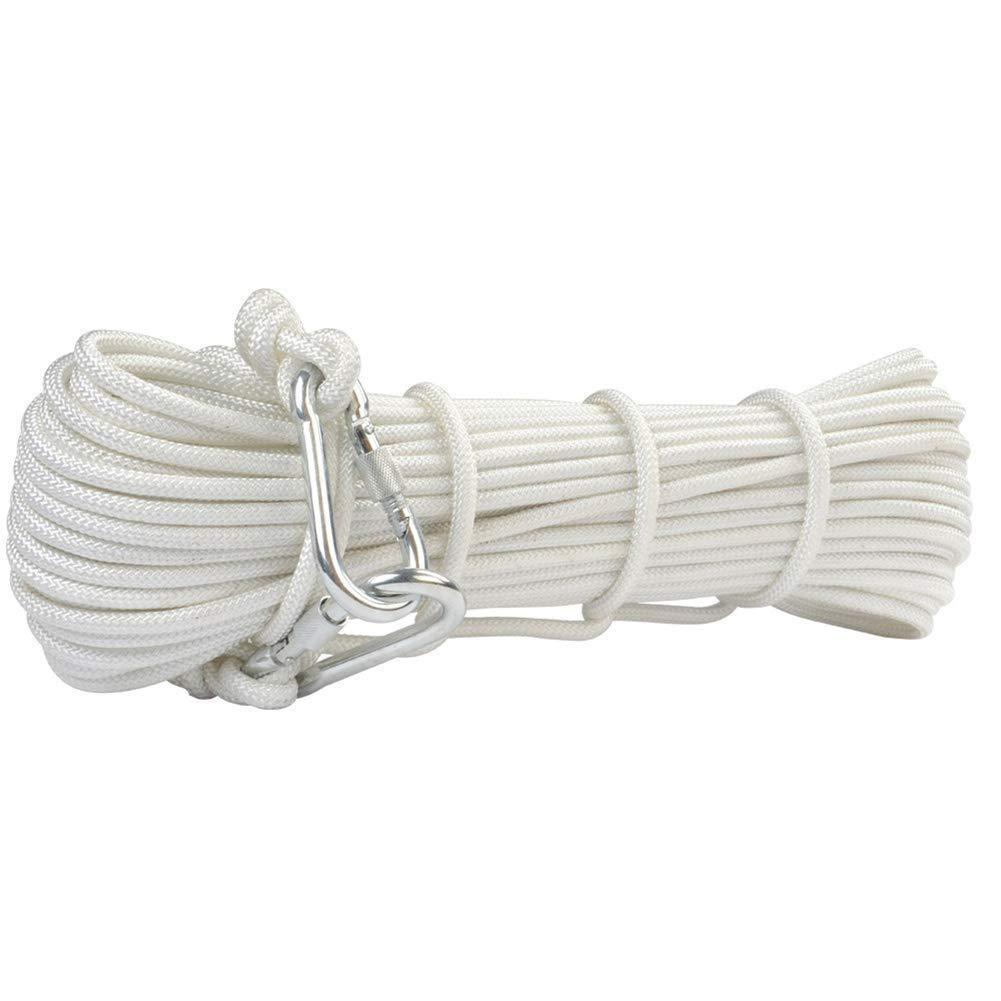 ZWYY Cuerda de Escape al Aire Libre, Cuerda de Alambre de Acero de poliéster Cuerdas de Servicio de Escape de Rescate Cuerda de Trenzada para prevención de Incendios en el hogar (8 mm),White,60m