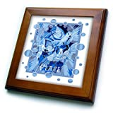 3dRose Taiche - Acrylic Painting - Peace Doves - Dove With Celtic Peace Text In Blue Tones - 8x8 Framed Tile (ft_273656_1)