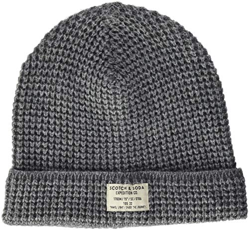 Hombre Knit Classic Structured 0606 Grey de Gorro Soda Gris Melange amp; para Punto Scotch Beanie In qPAAYB