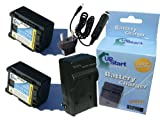 2x Pack - Canon FS400 Battery and Charger with Car & EU Adapters - Replacement for Canon BP-808 Digital Camcorder Battery and Charger (Decoded, 890mAh, 7.4V, Lithium-Ion)