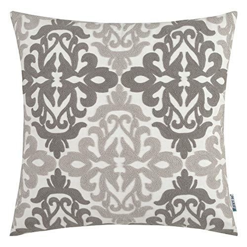 HWY 50 Grey Decorative Embroidered Throw Pillows Covers Cushion Cases for Couch Sofa Living Room Gray Farmhouse Floral Geometric 18x18 inch 1 Piece
