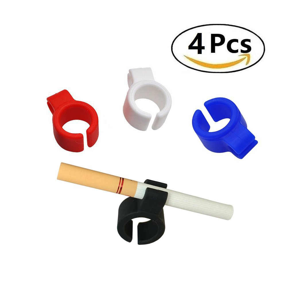 Cigarette Smoking Ring,Stretchy And Durable Silicone Finger Rack Tobacco Accessories,Hands Free Smoking Ring for Office, Console Gamers, PC Gamers,Guitar Players and Drivers(4pcs)