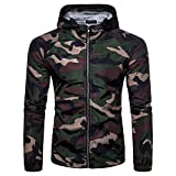 Serzul Men's Summer Camouflage Print Suntan-Proof Pullover Hooded T-Shirt Top Blouse (2XL, Army Green)