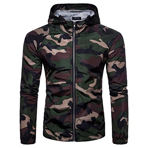 Serzul Men's Summer Camouflage Print Suntan-Proof Pullover Hooded T-Shirt Top Blouse (M, Army Green) from Suzul_Men's Fashion