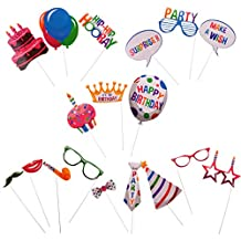 MagiDeal Colorful Birthday Photo Booth Props On Stick For Kids Adult Party Decoration