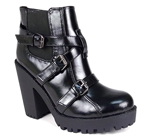 Block Black Chelsea Heel Boots Shoes Strappy Ladies Shine Size Grip Ankle Womens High Buckle Sole qXIURtx7