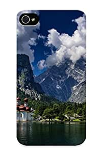 Dionnecortez Rugged Skin Case Cover For Iphone 4/4s- Eco-friendly Packaging(nature Mountain Forest Landscape Fog Lake )