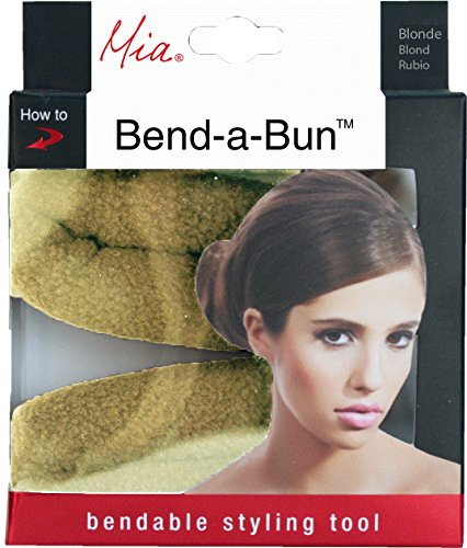 Mia Bend-a-Bun-Soft Flannel Bun Styling Tool With A Bendable Wire Inside-Blonde Color-Measures 7.25