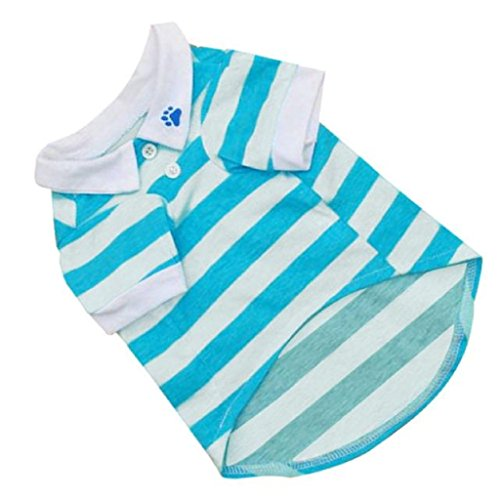 Puppy Clothes Polo T-Shirt Clearance! Seaintheson 2018 Cute Dog Stripe Cotton T Shirt Pet Clothes Summer Lapel Shirt Dog Apparel Coats Tops Pet Collars Vests