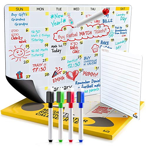 2019 Dry Erase Fridge Calendar | Flat Monthly and Weekly Magnetic Calendar for Refrigerator | Large Whiteboard To-Do List Organizer for Kitchen Fridge | B0NUS 4 Markers and Notepad with Magnets ()