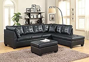 leather living room chairs. GTU Furniture Pu Leather Living Room Sectional Sofa Set in  Black Red With Ottoman Amazon com