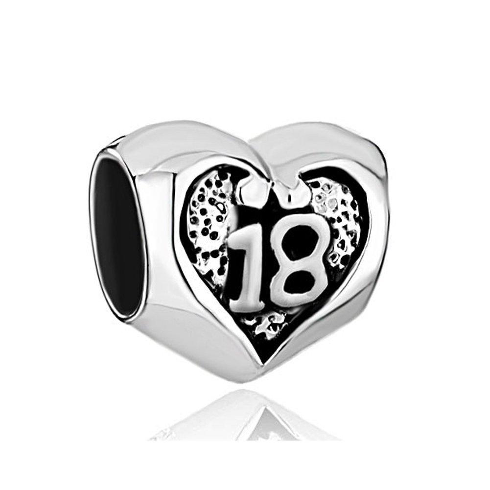 lovelycharms 925 plata de ley 18 cumpleaños corazón Beads ...