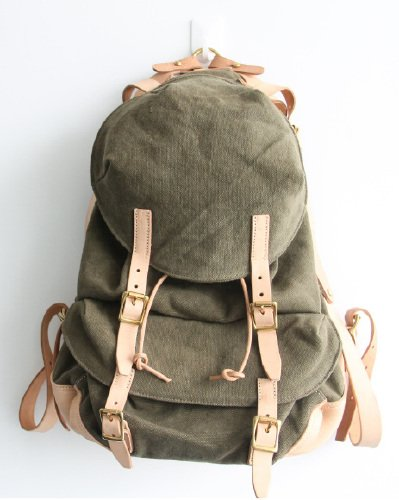 canvas and vegetable-tanned lether shoulder bag (army green)