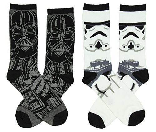 Star Wars Mens Darth Vader & Stormtrooper Casual Crew Socks 2 Pack