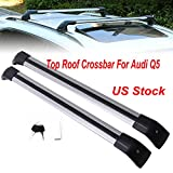 MotorFansClub Luggage Top Roof Rack Cross Bar Crossbar Lockable for Audi Q5 2012 2013 2014 2015 2016 2017