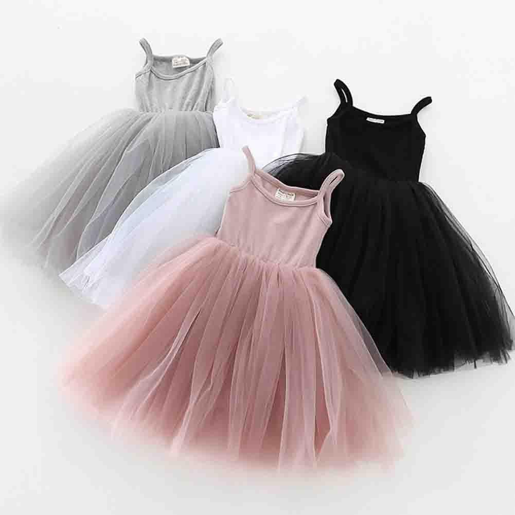 Baby Girls Tutu Dress Sleeveless Infant Toddler Sundress Tulle Bubble 5 Layers