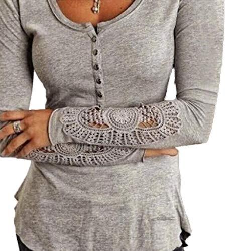 et Slim Hauts Casual Blouse Tee Shirt pissure Jumpers Printemps Dentelle Femmes Shirts Chemisiers Automne Mode Tops Longues Gris Manches T dBvqO7xw