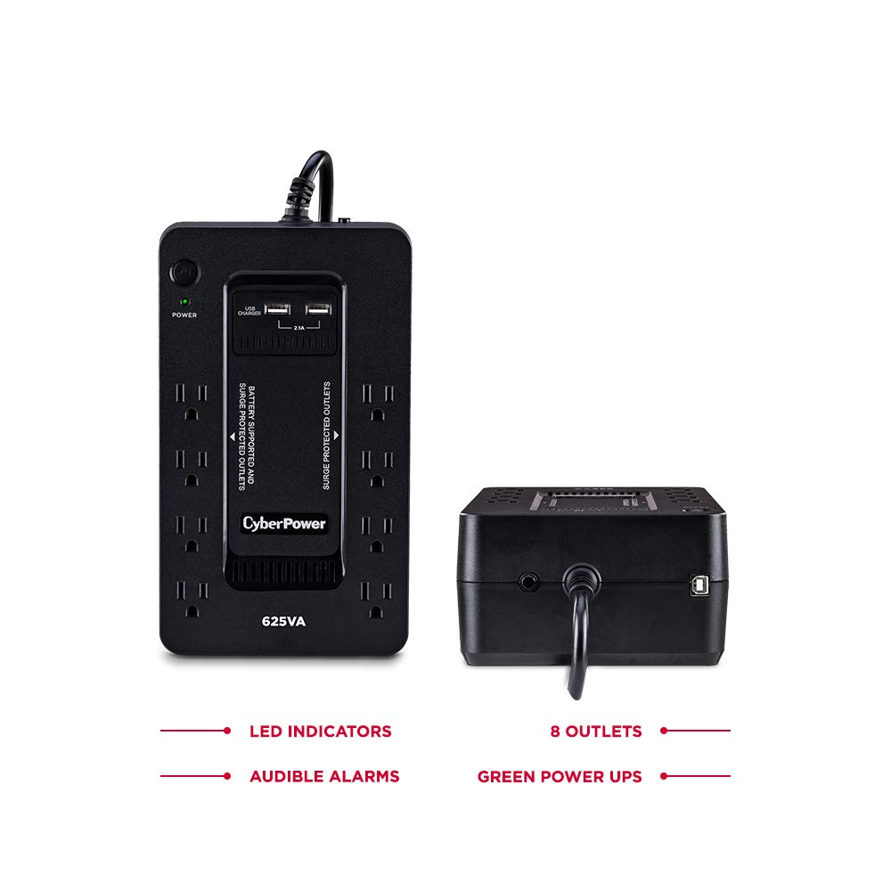 CyberPower ST625U Standby UPS System, 625VA/360W, 8 Outlets, 2 USB Charging Ports, Compact by CyberPower (Image #3)