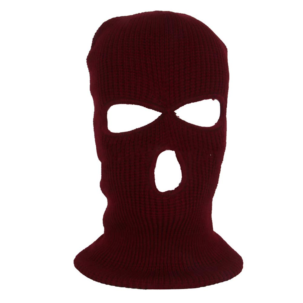 yanbirdfx Army Tactical Winter Warm Ski Cycling 3 Hole Balaclava Hood Cap Full Face Mask - Wine Red