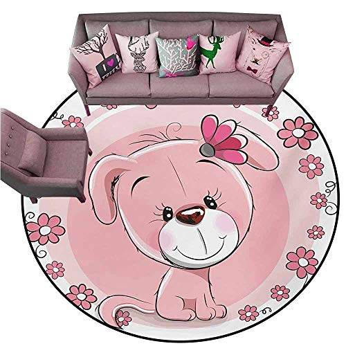 Floor Mat for Toilet Non Slip Dog,Cute Little Puppy with Daisy Flowers Cheerful Adorable Domestic Pet Girls,Pale Pink Coral White Diameter 72