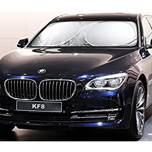 Windshield Sun Shade -Luxurious 210T fabric(highest quality in the market)for maximum UV and Sun protection -foldable sunshade for car windshield will keep your car cooler- Windshield Sunshade (Large)