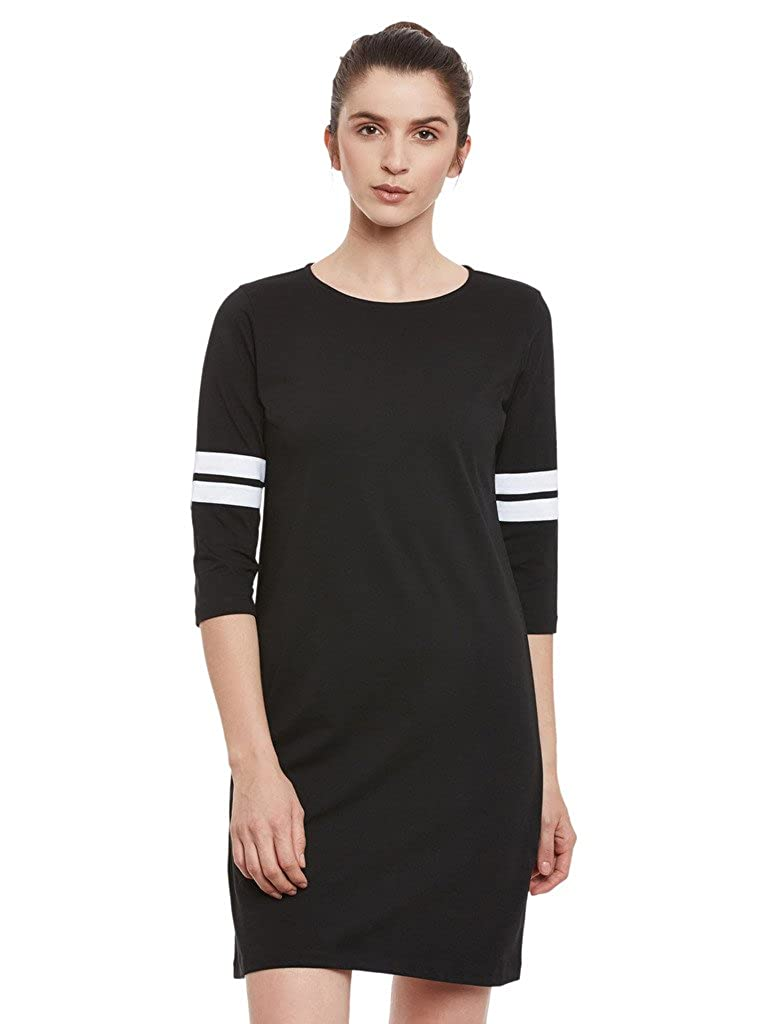 Miss Chase Women's Black Plain Solid Round Neck 3/4 Sleeve Panelled Shift Dress