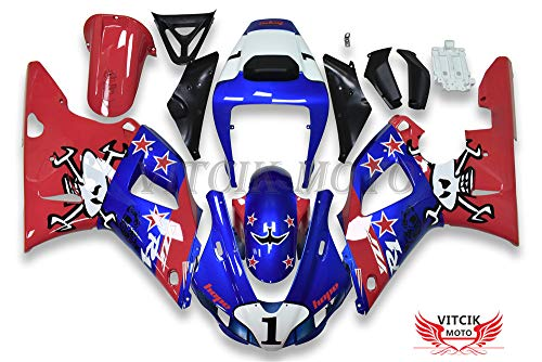 (VITCIK (Fairing Kits Fit for Yamaha YZF-1000 R1 1998 1999 YZF 1000 R1 98 99 Plastic ABS Injection Mold Complete Motorcycle Body Aftermarket Bodywork Frame (Blue & Red))