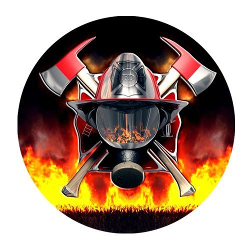 Price comparison product image JDSitem Cool Fire Flames Axes Design Fire Fighter Firefighter Fireman Round Mousepad Mousemats Mouse Mat
