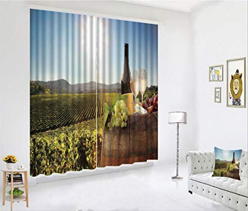 SCOCICI Blackout Curtain Set for Living Room,Famous Vineyard in Chianti Tuscany Agriculture,Decor Creative 3D Printed Blackout Window Drape for Bedroom Kids Room Window Treatments(2 Panels) -