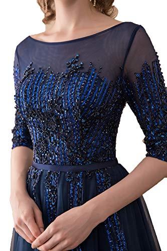 Abendkleider Damen Langarm Formalkleider Pailletten Dunkel Promkleider Charmant Violett Tanzenkleider Elegant Brautmutterkleider dIq7EF
