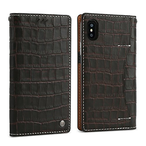 (DesignSkin iPhone Xs Flip Folio Wallet Case: 100% Leather That is Genuine Cowhide w/Card Slot & Cash Pocket for Apple iPhoneX & XS - Dark Brown)