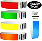 "Tyvek Wristbands – Goldistock 1,000 Count Rainbow Variety Pack – ¾"" Arm Bands - 200 Each: Neon Green, Blue, Red, Yellow & Orange Paper-like Party Armbands - Heavier Tyvek Wrist Bands = Superior Events"