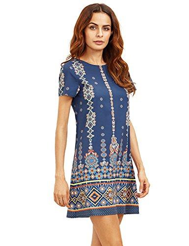 - Milumia Women's Bohemian Aztec Print Ethnic Style Summer Shift Dress Navy XL