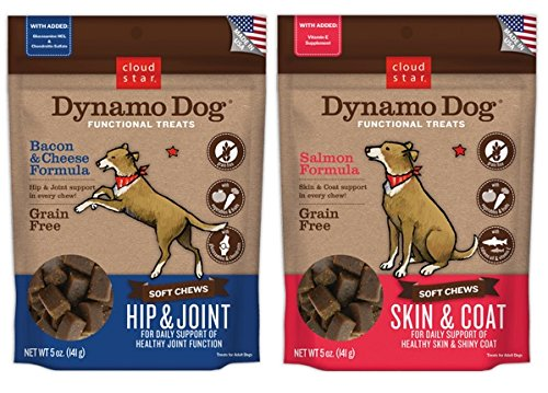 Cloud Star Dynamo Dog Grain Free Soft Chews Functional Treats For Dogs 2 Flavor Variety Bundle: (1) Skin & Coat Salmon, (1) Hip & Joint Bacon & Cheese, 5 Oz. ()