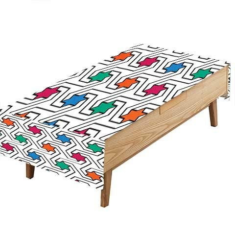 PINAFORE Polyesters Tablecloth Colorful Stars On Abstract Pop Art Geometric Pattern Modern Teen Room Rock Punk for Birthday Parties or Table Decorations W50 x L80 -