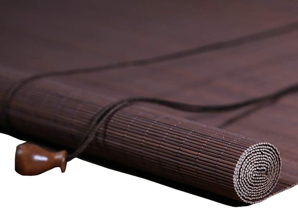 Persianas enrollables Bambú Marrón con Cuerda de Tracción, Persiana Solar Térmica de Seguridad, para Ventanas de Puertas Corredizas de Vidrio