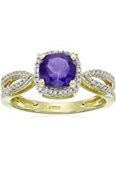 10k Yellow Gold and White Diamond Birthstone Ring (1/10 cttw, I-J Color, I2-I3 Clarity)