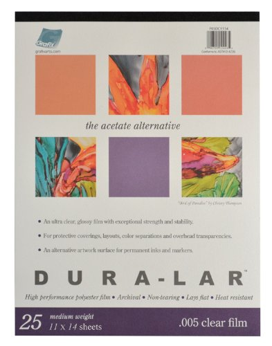 (Grafix P05DC1114 Clear .005 Dura-Lar Film, 11-Inch by 14-Inch, 25 Sheets)